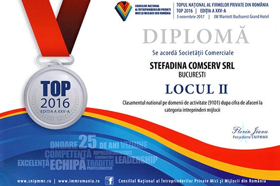 Diploma Locul 2 National 2016 Cifra de afaceri