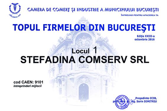Diploma Locul 1 Topul  Firmelor Bucuresti 2016