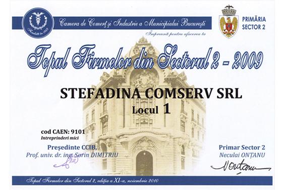 Diplomă Locul 1 pe Sectorul 2 Bucureşti 2009