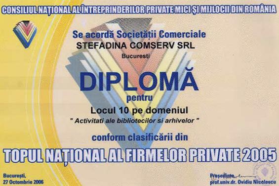 Diplomă Locul 10 Top Naţional România 2005