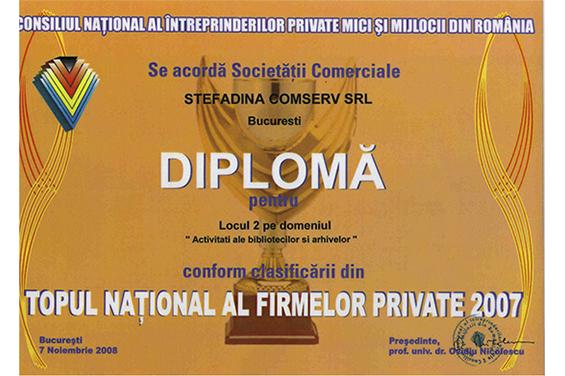 Diplomă Locul 2 Top Naţional România 2007
