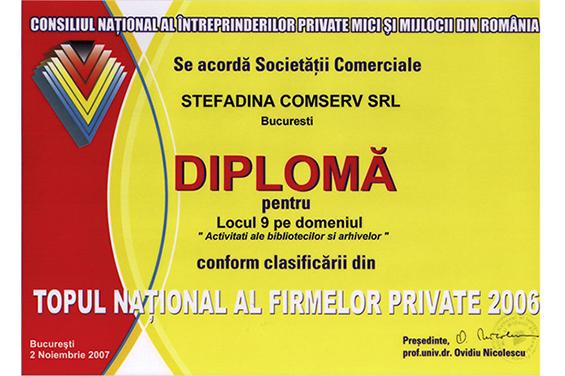 Diplomă Locul 9 Top Naţional România 2006