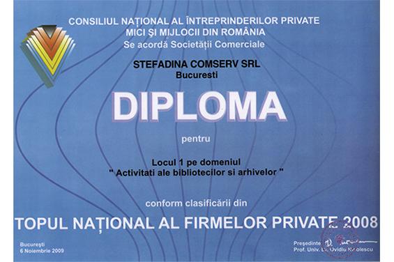 Diplomă Locul 1 Top Naţional România 2008