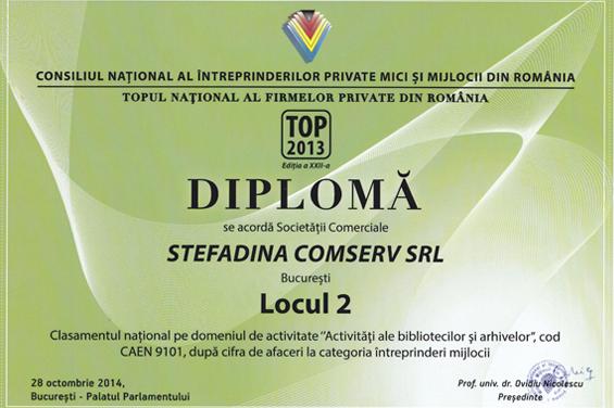 Diploma Locul 2 2013 Cifra de afaceri