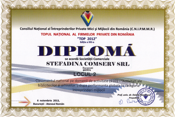 Diploma Locul 2 National 2012 Performanta globala