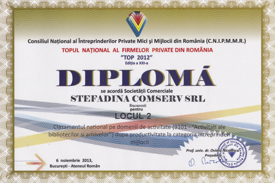 Diploma Locul 2 National 2012 Productivitate