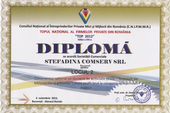 Diploma Locul 2 National 2012 Profit brut