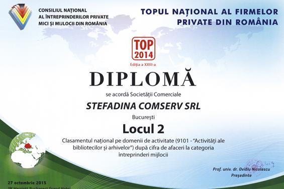 Diploma Locul 2 National 2014 Cifra de afaceri