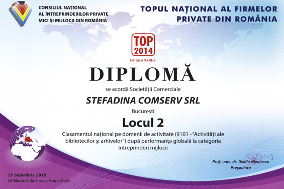 Diploma Locul 2 Nationa l2014 Performanta globala