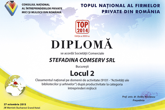 Diploma Locul 2 National  2014 Productivitate in activitate