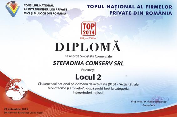 Diploma Locul 2 National 2014 Profit brut