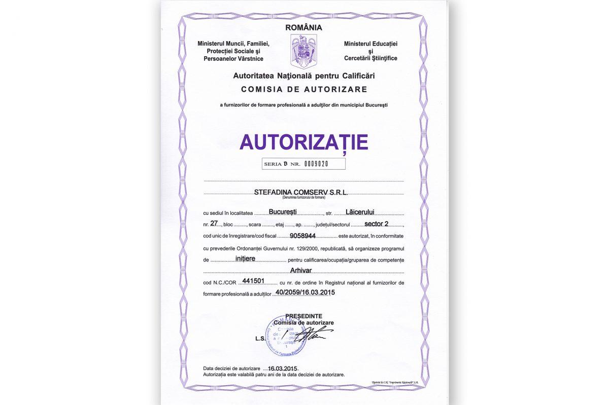 Formare profesională - Arhivar