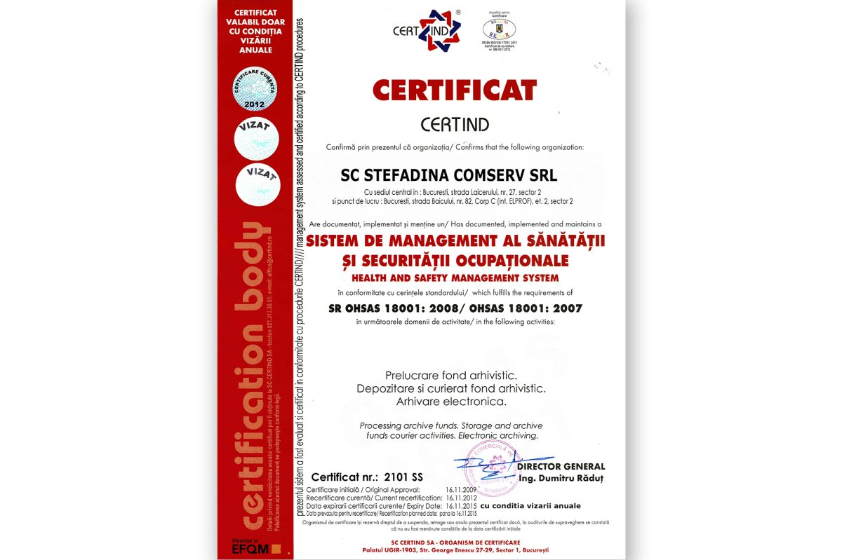 SR OHSAS 18001:2008 - Sistem de Management al Sănătății şi Securității Ocupaționale