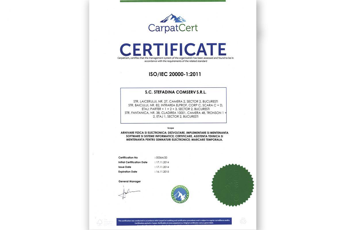 ISO/IEC 20000 - 1:2011 - Arhivare fizică și electronică