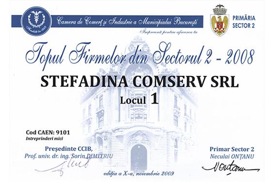 Diplomă Locul 1 pe Sectorul 2 Bucureşti 2008