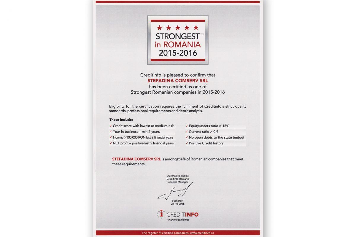 L'une des plus fortes entreprises roumaines en 2015-2016