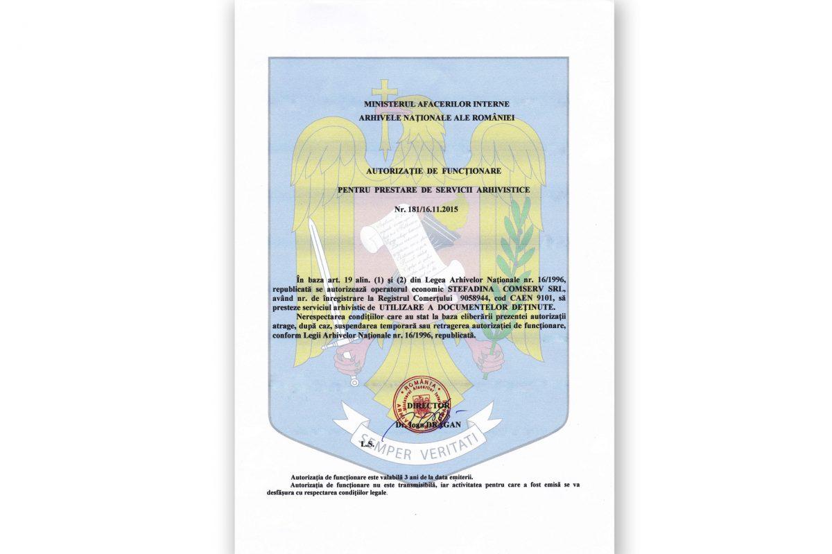 UTILIZARE A DOCUMENTELOR DEȚINUTE 181/16.11.2015