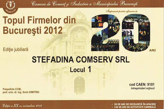 diplôme 1er lieu top d'entreprises de bucharest 2012