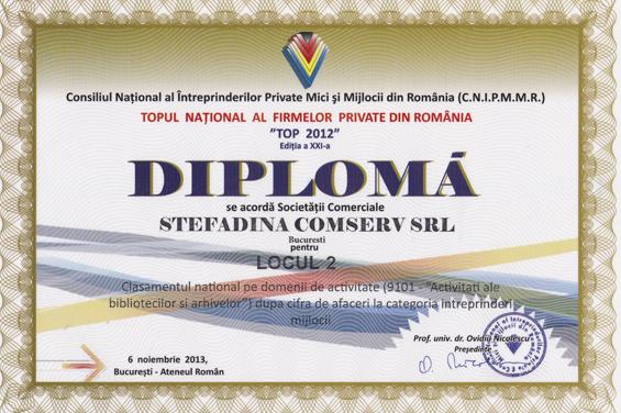 diplôme 2 lieu top national chiffre d'affairs - 2012
