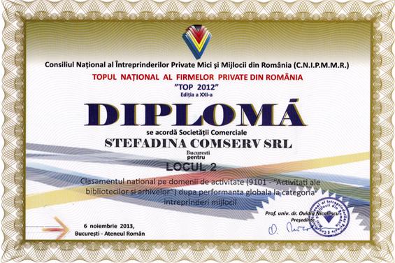 diplôme 2e lieu national 2012 performance globale