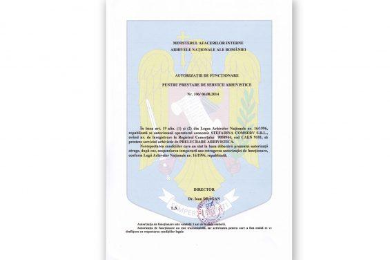 TRAITEMENT DES ARCHIVES NO. 106/06.08.2014
