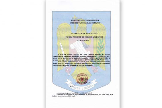 UTILISATION DES DOCUMENTS TENUS EN CUSTODIE  NR. 181/16.11.2015